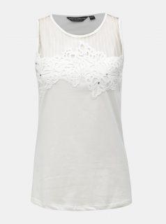 Bílý top s krajkovými detaily Dorothy Perkins