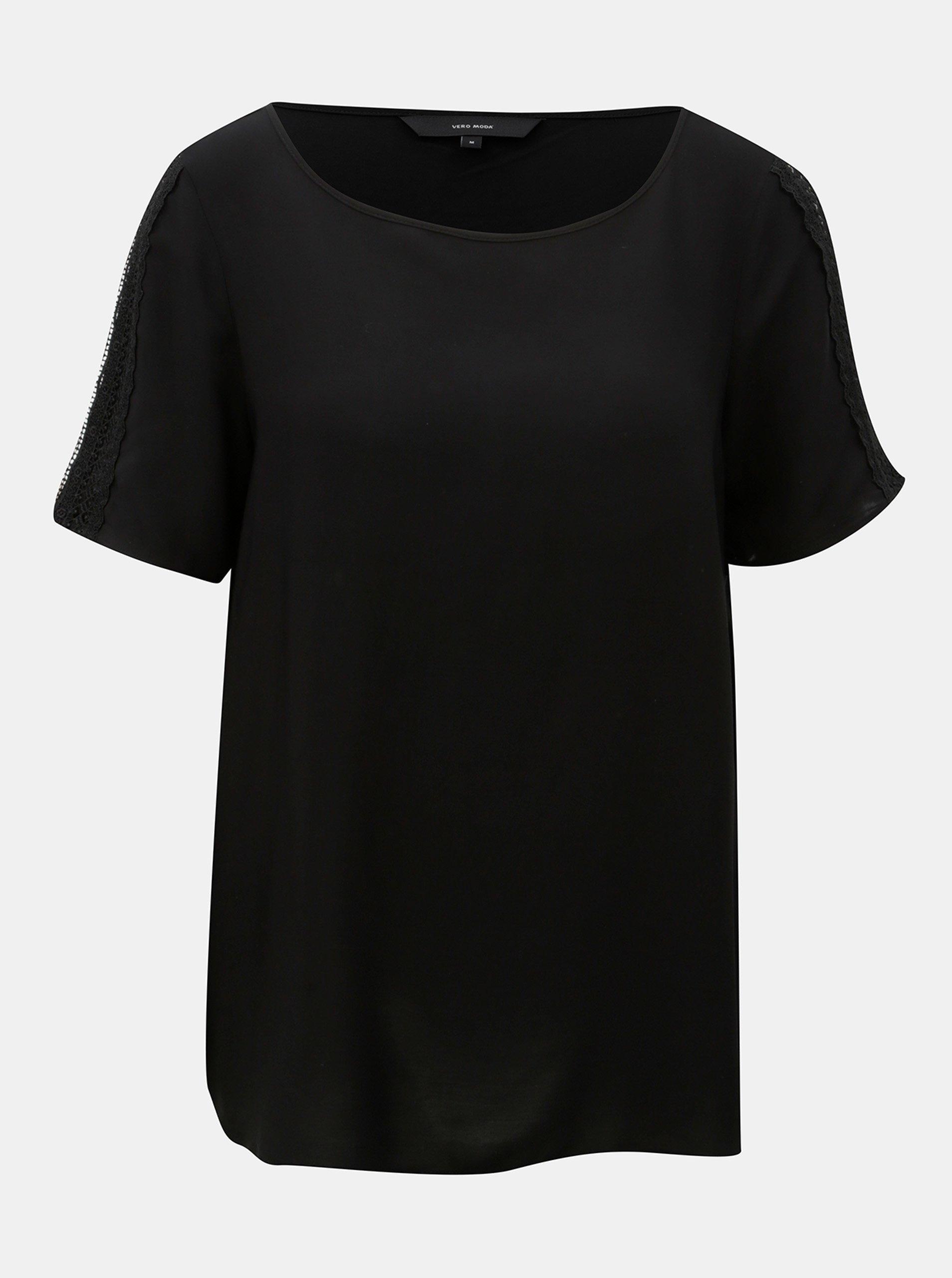 Černý top s krajkovými detaily VERO MODA Lacey