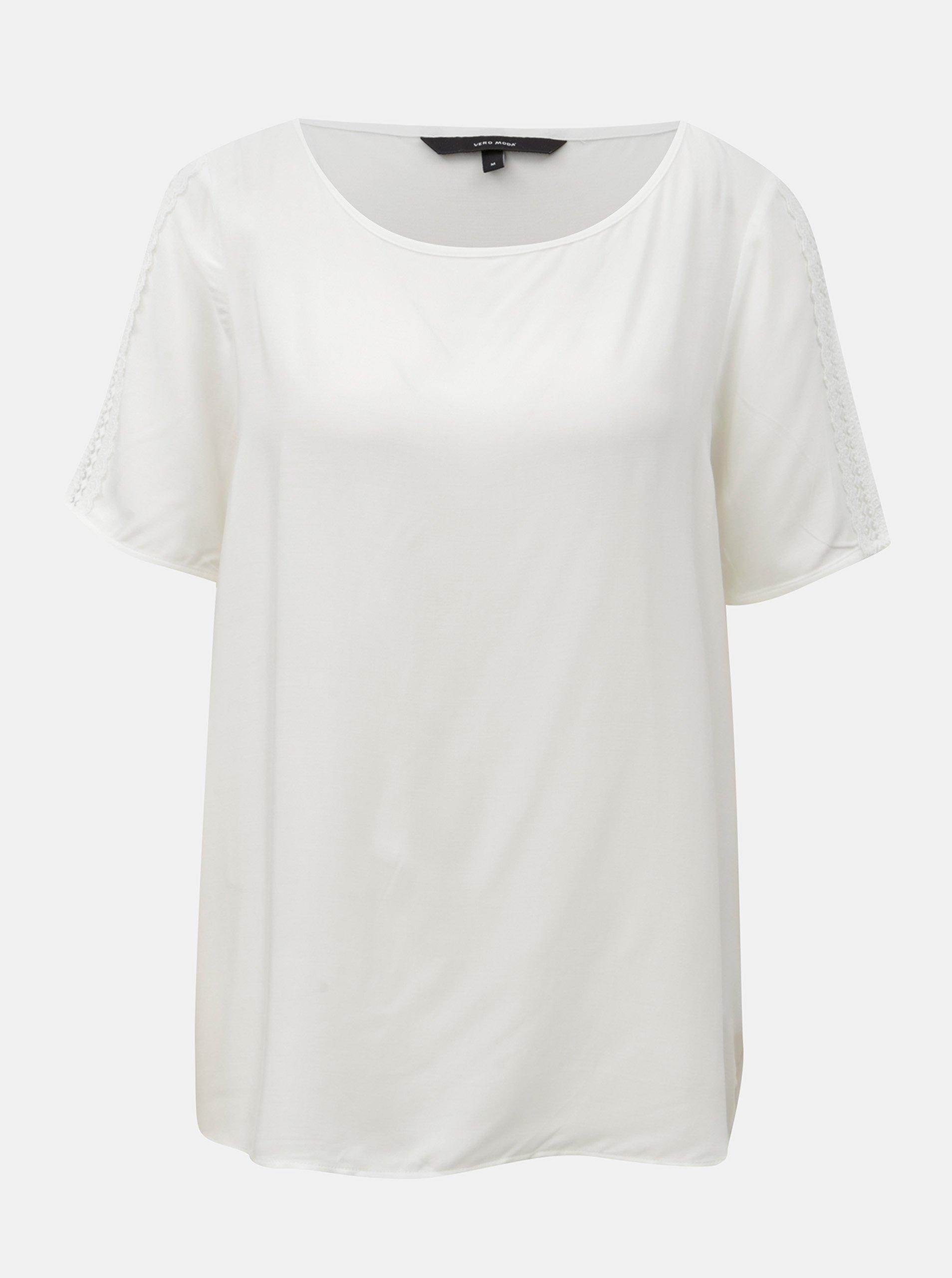 Bílý top s krajkovými detaily VERO MODA Lacey