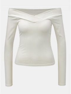 Bílý zkrácený top s odhalenými rameny Miss Selfridge Cross Over Bardot