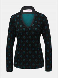 Zeleno-černý květovaný vlněný top s příměsí hedvábí La femme MiMi