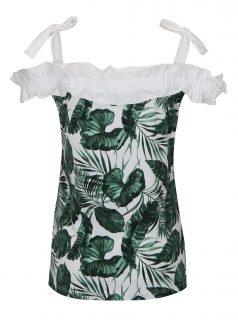 Zeleno-bílý vzorovaný top s odhalenými rameny Dorothy Perkins