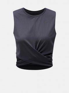 Šedý dámský funkční crop top Nike