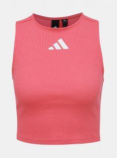 Růžový dámský crop top s průstřihem na zádech adidas Performance