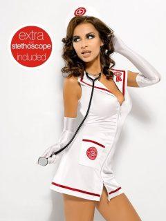 Sexy kostým Emergency dress + stetoskop – Obsessive bílá