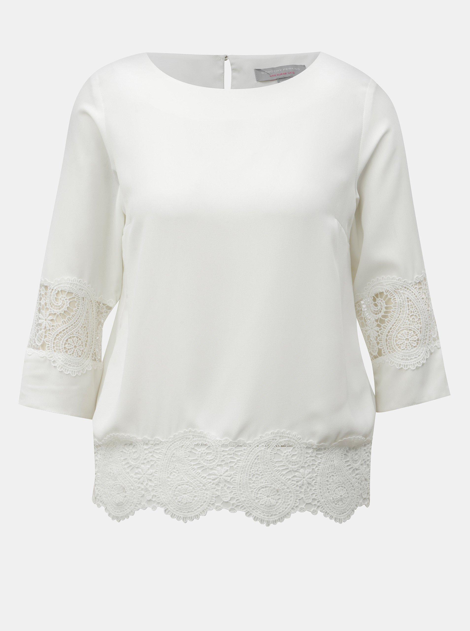 Bílá halenka s krajkovými detaily Dorothy Perkins Petite - Halenky 083c452d55