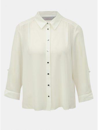 Bílá halenka s knoflíky ve stříbrné barvě Dorothy Perkins Petite ... fa6c73ae52