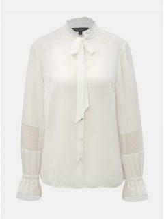 Bílá halenka se zavazováním a krajkovými detaily Dorothy Perkins