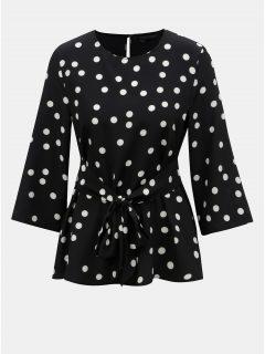Bílo-černá puntíkovaná halenka se zavazováním Dorothy Perkins