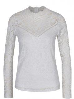 Bílá krajková halenka s dlouhým rukávem VILA Stasia