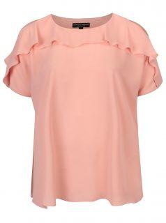 Světle růžová volná halenka s volánem Dorothy Perkins Curve