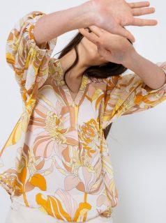 Krémová květovaná halenka CAMAIEU