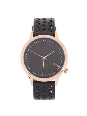 Černé dámské hodinky s koženým perforovaným páskem Komono Estelle Cutout 7a9c5045d6