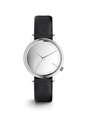 Dámské hodinky ve stříbrné barvě s černým koženým páskem Komono Estelle  Mirror ac03a63f99
