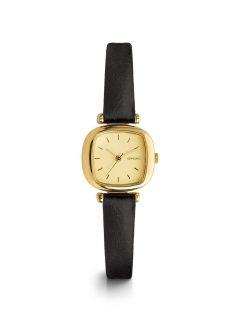 Dámské hodinky ve zlaté barvě s černým koženým páskem Komono Moneypenny