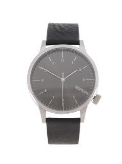 Unisex hodinky ve stříbrné barvě s černým koženým páskem Komono Winston Regal
