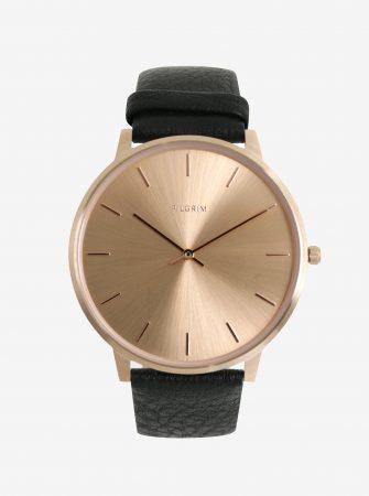 Pozlacené hodinky v růžovozlaté barvě s černým koženým páskem Pilgrim 39e2240ada