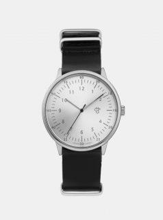Unisex hodinky s černým koženým páskem CHPO Harold Silver
