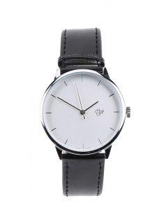 Unisex hodinky s černým koženkovým páskem CHPO Khorshid Silver