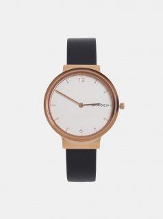 Černé dámské hodinky s koženým páskem Skagen