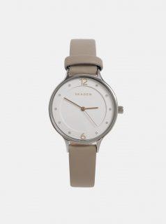 Béžové dámské hodinky s koženým páskem Skagen