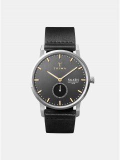 Pánské hodinky s černým koženým páskem TRIWA Smoky Falken