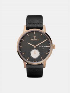 Dámské hodinky s černým koženým páskem TRIWA Noir Svalan