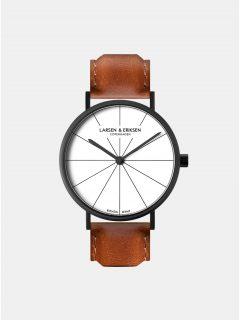 Unisex hodinky s hnědým koženým páskem LARSEN & ERIKSEN