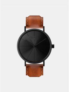 Unisex hodinky v černé barvě s hnědým koženým páskem LARSEN & ERIKSEN