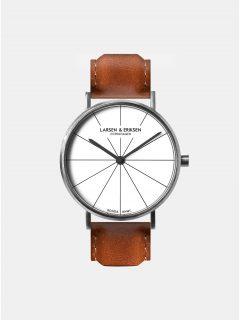 Unisex velké hodinky s hnědým koženým páskem LARSEN & ERIKSEN
