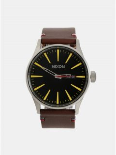 Pánské hodinky s tmavě hnědým koženým páskem NIXON