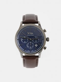 Pánské hodinky s tmavě hnědým koženým páskem Lee Cooper