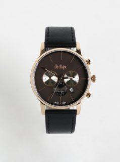 Pánské hodinky s koženým páskem v černé barvě Lee Cooper