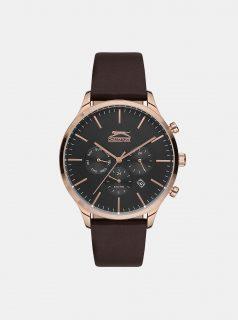 Pánské hodinky s hnědým koženým páskem Slazenger
