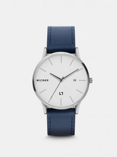 Pánské hodinky s modrým koženkovým páskem Millner Rodney