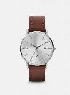 Pánské hodinky s hnědým koženkovým páskem Millner Rodney