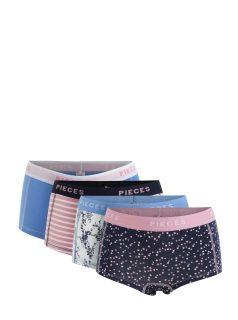 Sada čtyř kalhotek v modré, růžové a krémové barvě Pieces Logo