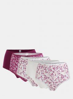 Sada pěti květovaných kalhotek ve fialové a bílé barvě M&Co