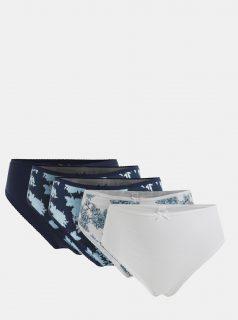 Sada pěti kalhotek v bílé a modré barvě M&Co