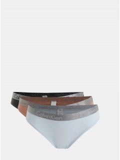 Sada tří kalhotek v modré, šedé a starorůžové barvě Calvin Klein Underwear