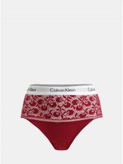 Červené krajkové kalhotky s vysokým pasem Calvin Klein