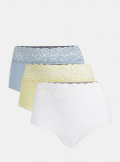 Sada tří kalhotek v modré, bílé a žluté barvě M&Co