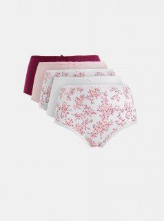 Sada pěti kalhotek s vysokým pasem v růžové, bílé a vínové barvě M&Co