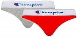CHAMPION BRIEF CLASSIC 2x – 2 ks bavlněných kalhotek – šedá – červená