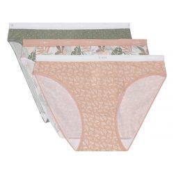 DIM LES POCKETS COTTON SLIP 3 ks – Dámské bavlněné kalhotky 3 ks – béžová – bílá – zelená