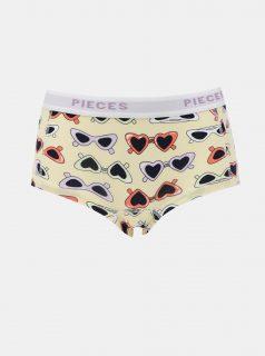 Béžové vzorované kalhotky Pieces Lady