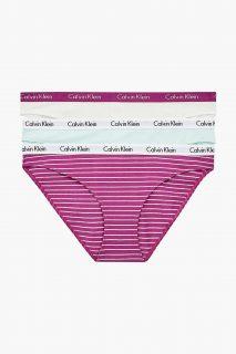 Calvin Klein barevný 3 pack kalhotek Bikini 3PK White W Plum Plum/Feeder Stripe Plum Plum/Aqua Luster