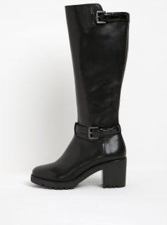 Černé kožené kozačky na podpatku s přezkou Geox Dovelyn D