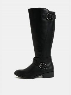 Černé kozačky s přezkami ve stříbrné barvě Dorothy Perkins