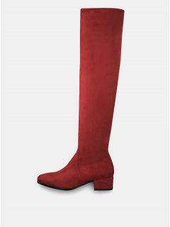 Červené vysoké kozačky v semišové úpravě Tamaris